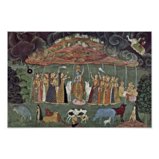 Krishna And The Mountain Govardhan By Shahadin Poster