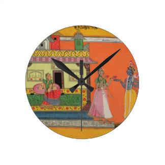 Krishna arriving at Radha's house, illustration fr Clock