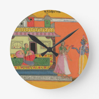Krishna arriving at Radha's house, illustration fr Round Clock