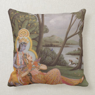 Krishna Diety Green/Blue Decorative Throw Pillow