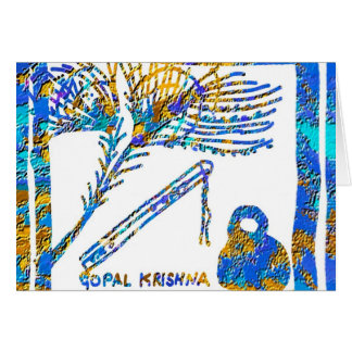Krishna - Flute, Peacock Feather n Buttermilk Card
