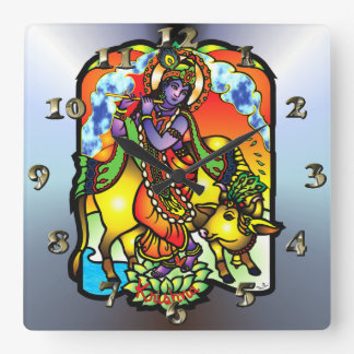 Krishna - Gods and Deities Square Wall Clock