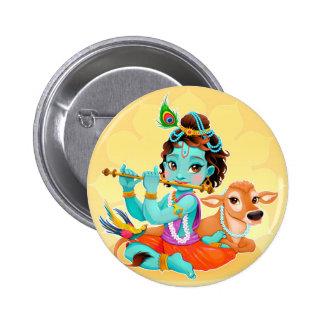 Krishna Indian God playing flute illustration 6 Cm Round Badge