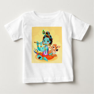 Krishna Indian God playing flute illustration Baby T-Shirt