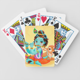 Krishna Indian God playing flute illustration Bicycle Playing Cards