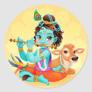 Krishna Indian God playing flute illustration Classic Round Sticker