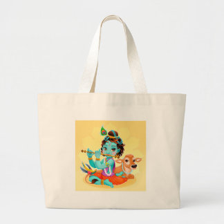 Krishna Indian God playing flute illustration Large Tote Bag