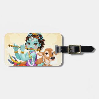 Krishna Indian God playing flute illustration Luggage Tag