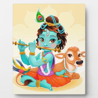 Krishna Indian God playing flute illustration Plaque