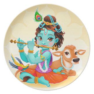 Krishna Indian God playing flute illustration Plate