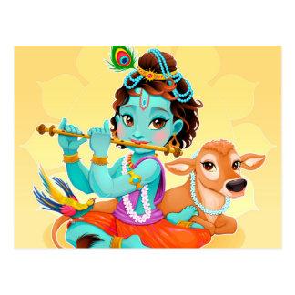 Krishna Indian God playing flute illustration Postcard