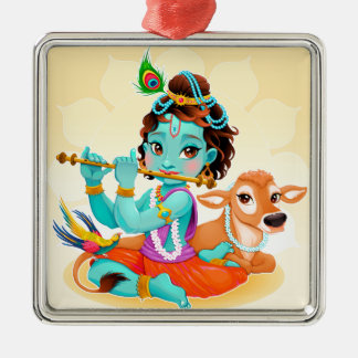 Krishna Indian God playing flute illustration Silver-Colored Square Decoration