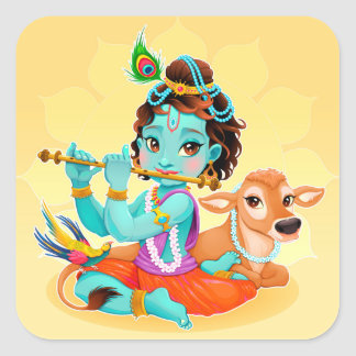 Krishna Indian God playing flute illustration Square Sticker