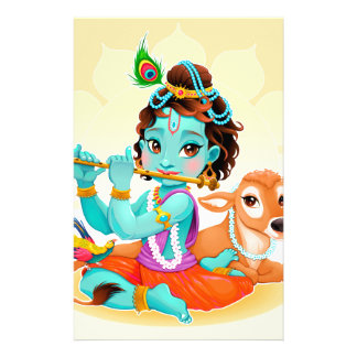 Krishna Indian God playing flute illustration Stationery