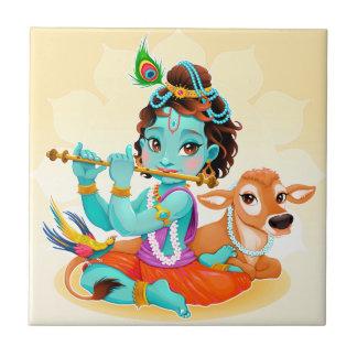 Krishna Indian God playing flute illustration Tile