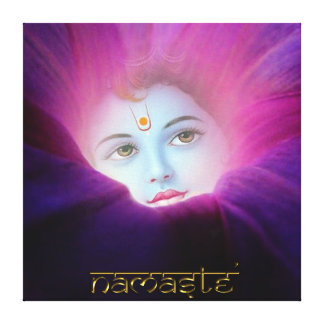 Krishna Morning Glory Namaste Stretched Canvas Pri Canvas Print