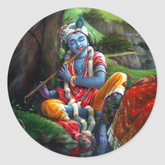 Krishna Painting (Indian Mythology) Classic Round Sticker