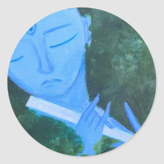 Krishna with Flute Classic Round Sticker