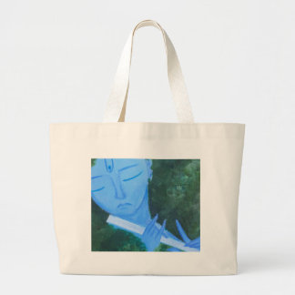 Krishna with Flute Large Tote Bag