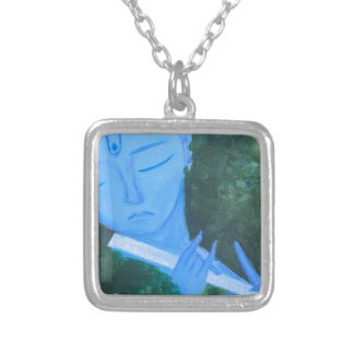 Krishna with Flute Silver Plated Necklace