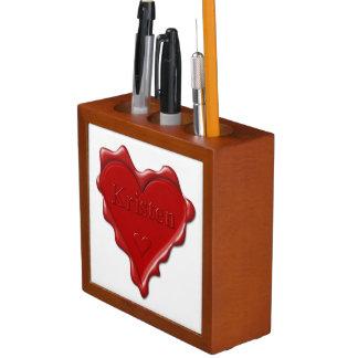 Kristen. Red heart wax seal with name Kristen Desk Organiser