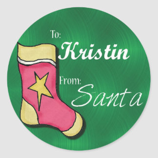 Kristin Personalized Stocking Lables Classic Round Sticker