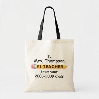 KRW #1 Teacher Custom Name and Date Budget Tote Bag