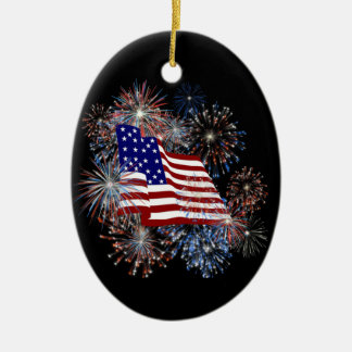 KRW American Flag Fireworks Ornament