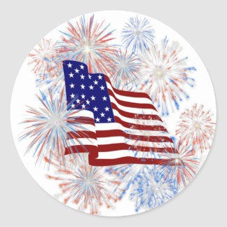 KRW American Flag Fireworks Patriotic Classic Round Sticker