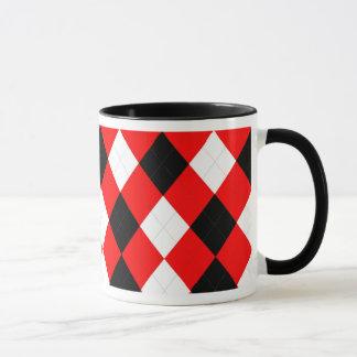 KRW Argyle Red White Black Mug