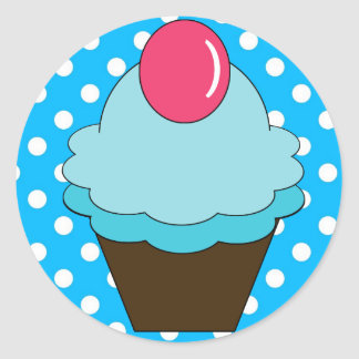 KRW Berry Blue Cupcake with Polka Dots Round Sticker