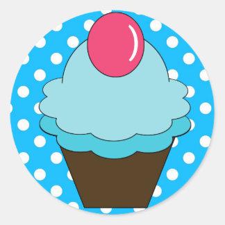 KRW Berry Blue Cupcake with Polka Dots Sticker