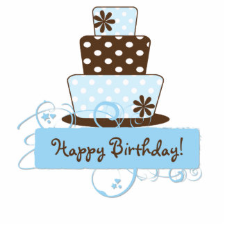 KRW Blue and Brown Polka Dot Birthday Cake Top Standing Photo Sculpture