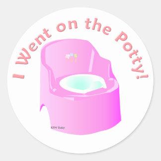 KRW Blue I Went on the Potty Training  Reward Round Sticker