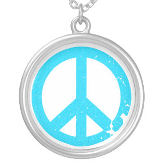 KRW Blue Peace Sign Sterling Silver Necklace
