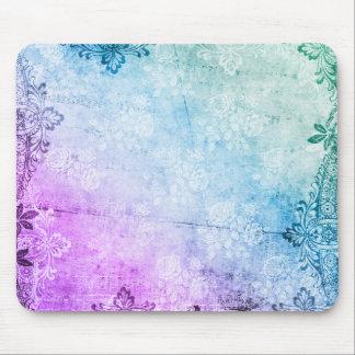 KRW Blue Violet Watercolor Floral Grunge Mouse Pad