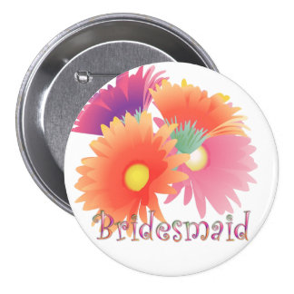 KRW Bright Daisy Bridesmaid Wedding Button