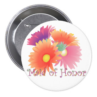 KRW Bright Daisy Maid of Honor Wedding Button