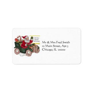 KRW Cartoon Driving Santa Claus Address Label