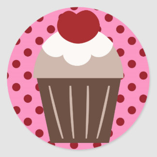 KRW Chocolate Cherry Cupcake Round Sticker