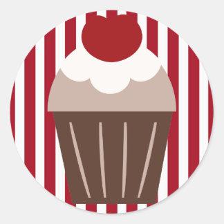KRW Chocolate Cherry Cupcake Striped Round Sticker