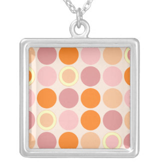 KRW Cool Pink and Orange Spots Silver Necklace
