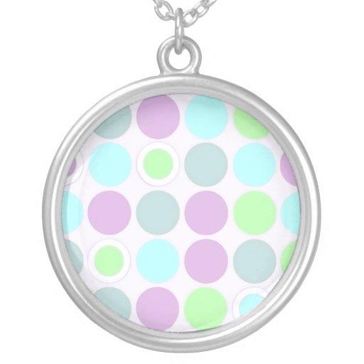 KRW Cool Purple and Aqua Spots Silver Necklace