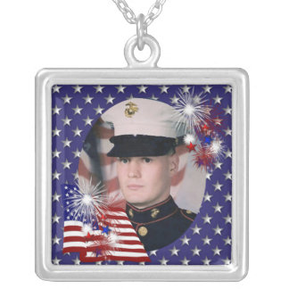 KRW Custom Blue Patriotic Photo Frame Necklace