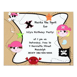 KRW Custom Pink Pirate Birthday Party Card