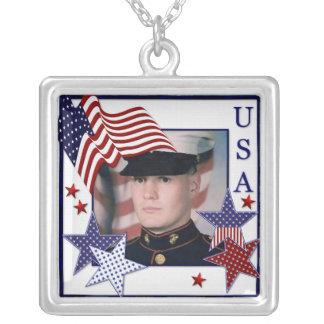 KRW Custom USA Patriotic Photo Frame Necklace
