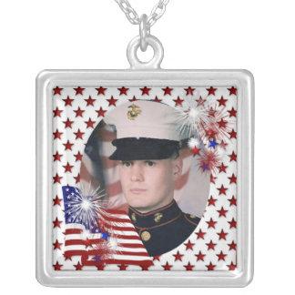 KRW Custom White Patriotic Photo Frame Necklace