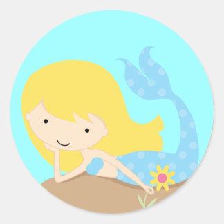 KRW Cute Blue Mermaid Classic Round Sticker