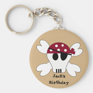 KRW Cute Custom Skull and Crossbones Pirate Basic Round Button Key Ring