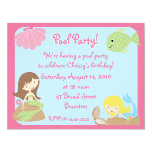 Mermaid Pool Party Invitations Announcements Zazzlecomau